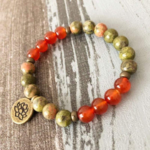 Natural Unakite and Carnelian Gemstones 108 Mala Beads Bracelet - Soul Sound Spirited