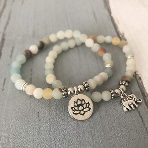 Pair Set of Natural Amazonite Mala Bead Gemstone Bracelets - Soul Sound Baths