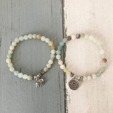 Load image into Gallery viewer, Pair Set of Natural Amazonite Mala Bead Gemstone Bracelets - Soul Sound Baths