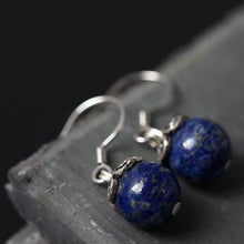 Load image into Gallery viewer, Sterling Silver Natural Blue Lapis Lazuli Round Dangle Earrings - Soul Sound Baths