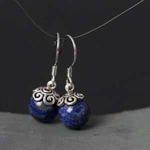 Sterling Silver Natural Blue Lapis Lazuli Round Dangle Earrings - Soul Sound Baths