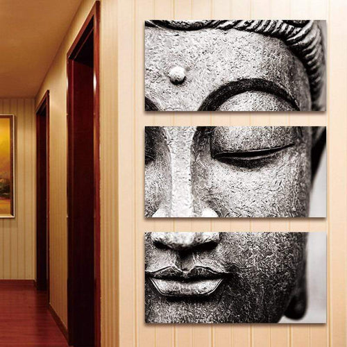 The 3 piece Black and White Buddha Wall Art Print Canvas - Soul Sound Baths