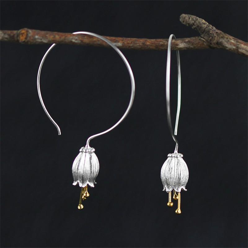 The 925 Sterling Silver Lily Flower Drop Hoop Earrings - Soul Sound Baths