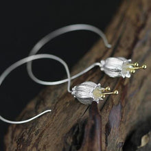 Load image into Gallery viewer, The 925 Sterling Silver Lily Flower Drop Hoop Earrings - Soul Sound Baths