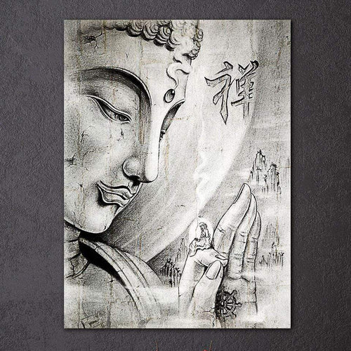 The Black and White Ancient Buddha Art Print Canvas - Soul Sound Baths