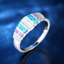 Load image into Gallery viewer, The Blue and White Fire Opal Gemstone Premium Silver Ring - Soul Sound Baths