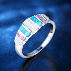 The Blue and White Fire Opal Gemstone Premium Silver Ring - Soul Sound Baths