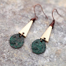 Load image into Gallery viewer, The Copper Patina Hammered Geometric Drop Dangle Earrings - Soul Sound Baths