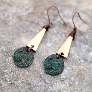 The Copper Patina Hammered Geometric Drop Dangle Earrings - Soul Sound Baths