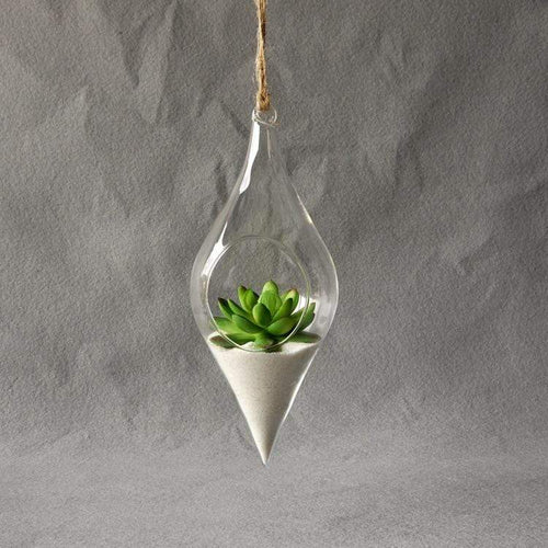 The Droplet Shaped Hanging Glass Terrarium Vase - Soul Sound Baths