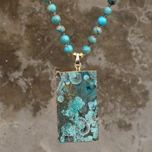 Load image into Gallery viewer, The Druzy Lariat Imperial Jasper and Amazonite Stones Geode Beaded Necklace - Soul Sound Baths