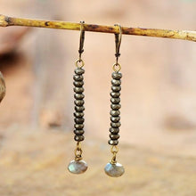 Load image into Gallery viewer, The Faceted Pyrite Labrodorite Gemstone Discs Dangle Earrings - Soul Sound Baths