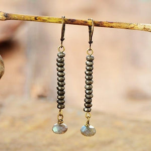 The Faceted Pyrite Labrodorite Gemstone Discs Dangle Earrings - Soul Sound Baths
