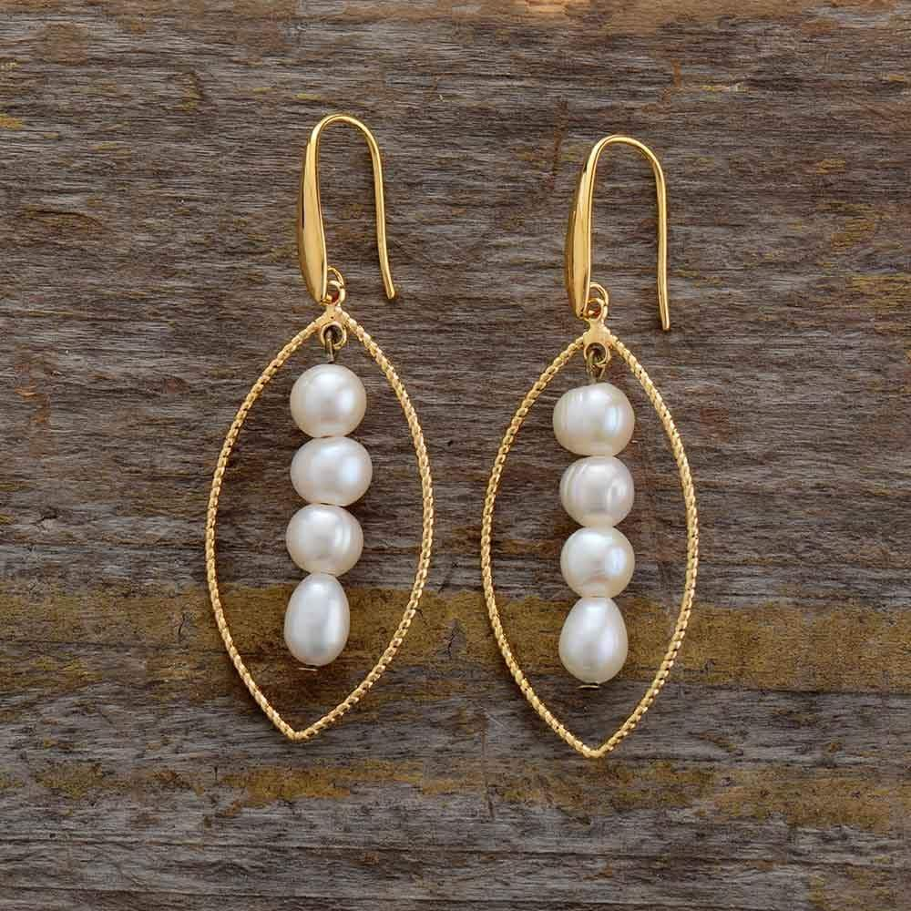 The Handmade Golden Leaf and Freshwater Pearls Boho Style Earrings - Soul Sound Baths