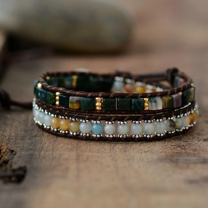 The Handmade Natural Amazonite and Onyx Gemstone Wrap Bracelet - Soul Sound Baths