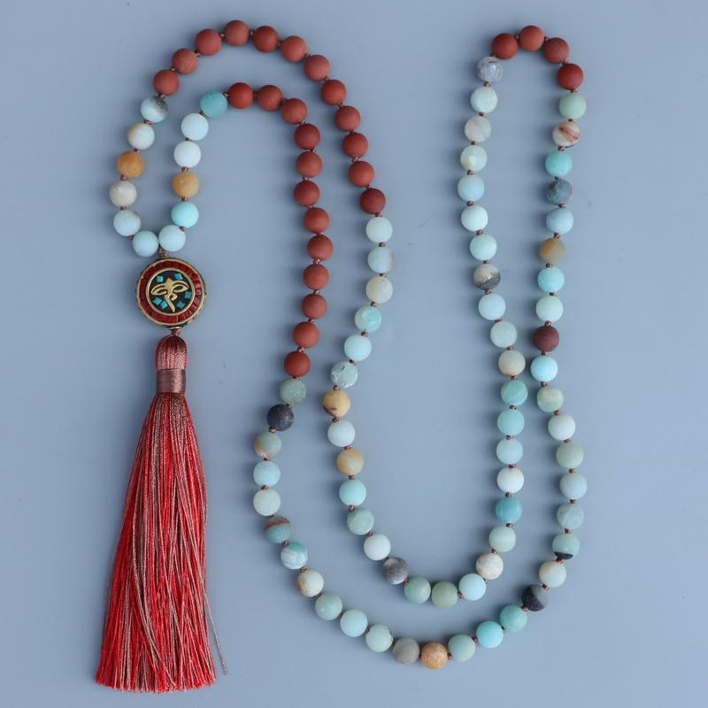 The Handmade Natural Amazonite and Red Stone Bead Mala Prayer Necklace - Soul Sound Spirited