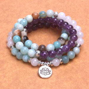 The Handmade Natural Amazonite Rose Quartz and Amethyst Mala Bead Bracelet - Soul Sound Spirited