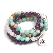 Load image into Gallery viewer, The Handmade Natural Amazonite Rose Quartz and Amethyst Mala Bead Bracelet - Soul Sound Spirited