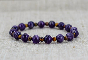 The Handmade Natural Amethyst and Tiger Eye Gemstone Bead Bracelet - Soul Sound Baths