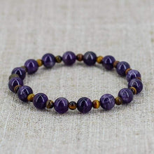 Load image into Gallery viewer, The Handmade Natural Amethyst and Tiger Eye Gemstone Bead Bracelet - Soul Sound Baths
