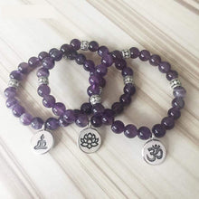 Load image into Gallery viewer, The Handmade Natural Amethyst Stone Mala Bead Bracelet - Soul Sound Spirited