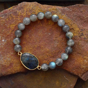 The Handmade Natural Blue Labradorite Gemstone Bead Bracelet - Soul Sound Baths