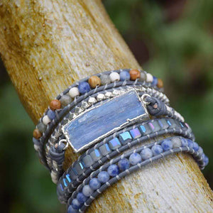 The Handmade Natural Blue Topaz Sodalite and Howlite Gemstone Natural Wrap Bracelet - Soul Sound Spirited