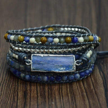 Load image into Gallery viewer, The Handmade Natural Blue Topaz Sodalite and Howlite Gemstone Natural Wrap Bracelet - Soul Sound Spirited