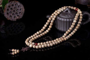 The Handmade Natural Bodhi Seeds and Red Agate Stone Buddhist Mala Bead Necklace - Soul Sound Baths