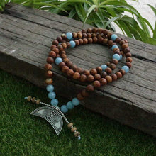 Load image into Gallery viewer, The Handmade Natural Brown Onyx and Aquamarine Stones 108 Mala Beads Necklace - Soul Sound Baths