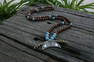 The Handmade Natural Brown Onyx and Aquamarine Stones 108 Mala Beads Necklace - Soul Sound Baths