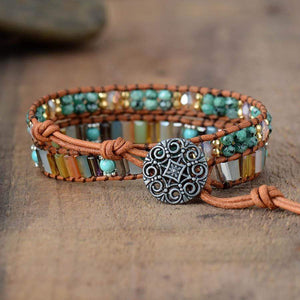 The Handmade Natural Jade and Crystal Beads Wrap Bracelet - Soul Sound Spirited