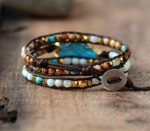 The Handmade Natural Matte Gemstones and Gilded Arrowhead Wrap Bracelet - Soul Sound Baths