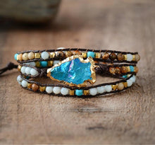 Load image into Gallery viewer, The Handmade Natural Matte Gemstones and Gilded Arrowhead Wrap Bracelet - Soul Sound Baths