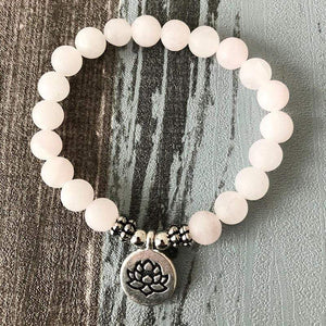 The Handmade Natural Matte Rose Quartz Gemstone Bead Mala Bracelet - Soul Sound Spirited