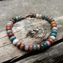 Load image into Gallery viewer, The Handmade Natural Ocean Agate Oval Gemstone Beads Bracelet - Soul Sound Baths