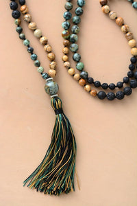 The Handmade Natural Semi-Precious Jasper and Lava Stones Bead Mala Necklace - Soul Sound Baths
