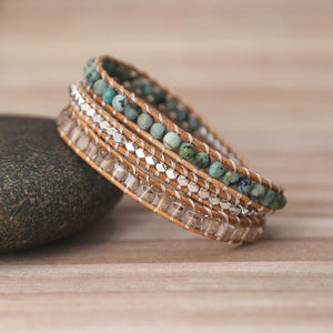 The Handmade Natural Turquoise Gemstones Wrap Bracelet - Soul Sound Baths