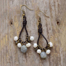 Load image into Gallery viewer, The Labradorite Gemstones And Labradorite Freshwater Pearl Earrings - Soul Sound Baths