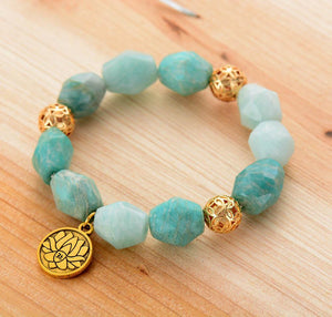 The Natural Amazonite Carved Beads and Gold Lotus Charm Pendant Handmade Bracelet - Soul Sound Baths
