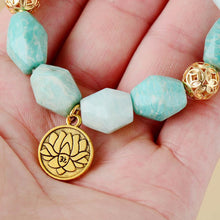 Load image into Gallery viewer, The Natural Amazonite Carved Beads and Gold Lotus Charm Pendant Handmade Bracelet - Soul Sound Baths