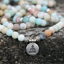 Load image into Gallery viewer, The Natural Amazonite Gemstone Matte Mala Bead Piece - Soul Sound Baths