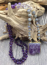 Load image into Gallery viewer, The Natural Amethyst Druzy and Labradorite Gemstone Beaded Pendant Necklace - Soul Sound Baths