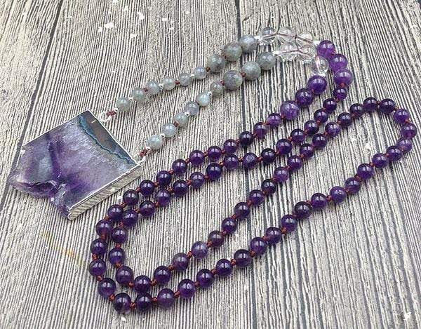 The Natural Amethyst Druzy and Labradorite Gemstone Beaded Pendant Necklace - Soul Sound Baths