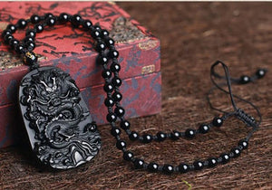 The Natural Black Obsidian Dragon Symbol Necklace - Soul Sound Baths
