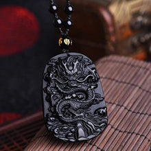 Load image into Gallery viewer, The Natural Black Obsidian Dragon Symbol Necklace - Soul Sound Baths