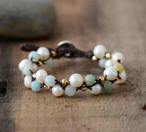 The Natural Freshwater Pearl and Amazonite Wrap Bracelet - Soul Sound Baths