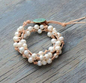 The Natural Genuine Freshwater White Pearl Leather Wrap Bracelet - Soul Sound Baths