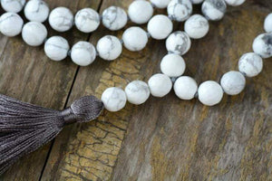 The Natural Howlite Mala Bead and Tassel Pendant Necklace - Soul Sound Baths