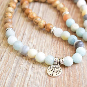 The Natural Jasper and Amazonite Tree of Life Pendant Mala Beads Piece - Soul Sound Spirited